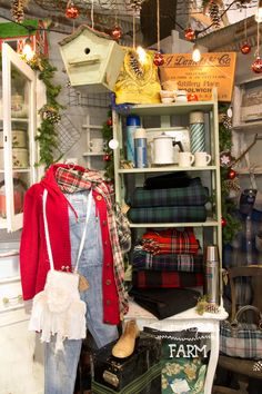 Sweet Magnolias Farm Shop Display Camp and Cabin Plaid wool Pendelton throws, vintage thermos's, @CampFleaAntiqueMall in Ozark , MO Space # 777