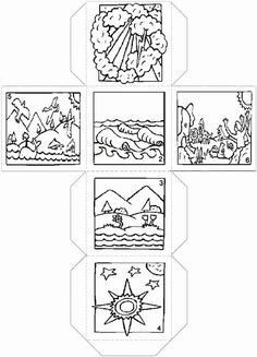 6 days of creation die (dice) Creation Preschool Craft, Creation Crafts, Preschool Crafts, Bible Activities For Kids, Bible Crafts For Kids, Creation Bible, Sunday School Coloring Pages, Children's Church Crafts, Christian Crafts