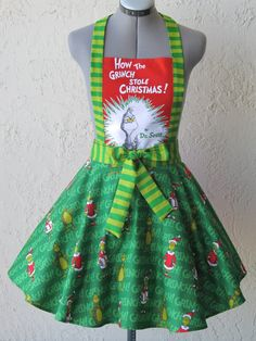The Grinch Apron How the Grinch Stole by ApronsByVittoria on Etsy, $39.75  Oh to find this fabric would be a blessing!!