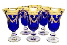 Interglass Italy Set of 6 Glasses Royal Blue Crystal Wine Goblets, Gold Gold Wine Glasses, Crystal Wine Glasses, Crystal Glassware, Antique Glassware, Vintage Italy, Wine Goblets, Gold Hands, Wow Products, Mugs Set