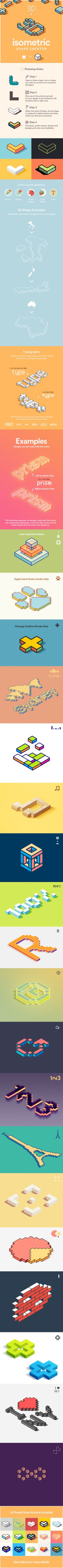 3D Isometric Shape Creator - Actions Photoshop