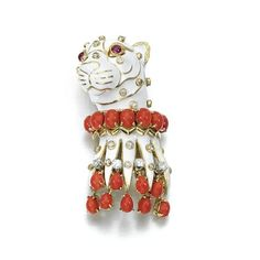 Enameled panther head brooch set with coral,diamonds and rubies