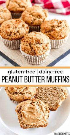 Simple, easy, gluten-free Peanut Butter Muffins make a great Summer or brunch breakfast. Easily made dairy-free too. Sugar Free Muffins, Gluten Free Muffins, Gluten Free Treats, Gluten Free Desserts, Dairy Free Recipes, Dessert Recipes, Peanut Butter Muffins, Gluten Free Peanut Butter, Healthy Peanut Butter