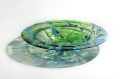 Fused colorful handmade glass plate dish original form by BonBonga, €40.00