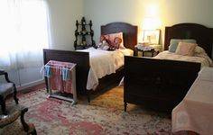Farmwife at Midlife -: What Makes It 'Cottage' ~ Guest Room Benjamin Moore Opal Essence Farm Cottage, Paint Shades, Benjamin Moore, Guest Room, Paint Colors, House Styles, Bed, Wall, Furniture