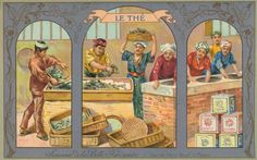 La Belle Jardiniere, Paris, France souvenir [advertising] postcard depicts workers sorting and washing tea leaves, c. 1900