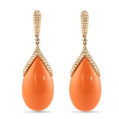 CORAL AND DIAMOND 18K ROSE GOLD DANGLE EARRINGS