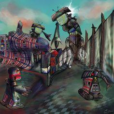 How Let's The Robots Out (Digitale Künste) von Manfred Hoppe Bevor wir Angst bekommen, das Roboter einen freien Willen bekommen, und somit eigensinnig sind. Könnte irgendjemand, mit einer Programmierung, Schabernack mit diesen Robots anstellen.