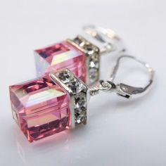 Pink Crystal Earrings, Swarovski Cube, Sterling Silver, Rose, Modern Wedding, Bridesmaid, Bridal Party, Handmade Jewelry, October Birthday