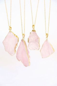 Easy Steps On How To Get The Best Jewelry - Jewelry - Ideas of Jewelry - Rose Quartz Necklace raw crystal necklace raw by VermeerJewellery Raw Crystal Necklace, Quartz Necklace, Gemstone Necklace, Crystal Jewelry, Gold Jewelry, Quartz Jewelry, Drop Necklace, Diamond Jewelry, Diamond Earrings