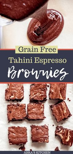 Hands down the best brownies I've ever had! Tahini Espresso Brownies are grain-free no refined sugar super-rich chocolatey and fudgy with the perfect swirl of tahini and espresso! Chocolate Caramel Slice, Skillet Chocolate Chip Cookie, Healthy Chocolate, Chocolate Recipes, Healthy Dessert Recipes, Baking Recipes, Delicious Desserts, Free Recipes, Bar Recipes