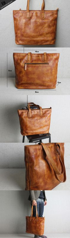 Handmade brown leather brown tote bag Large