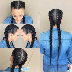 Two Long Cornrows - This style is very Kim K and we love it!