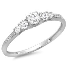 Add everlasting style to your day with this shimmering jewelry, featuring a polished finish over the 14k white gold. Crafted with 2/5 carat of white diamonds, this exquisite ring showcases a graduating stone design.