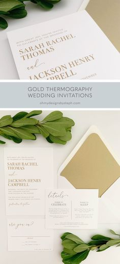 Thermography wedding invitations give the look of embossing, but for a fraction of the cost. This design is perfect for a modern, minimalist wedding. Order a sample now!