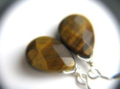 Yellow Tiger Eye Earrings . Natural Gemstone . Faceted Flat Teardrop . Sterling Silver . Simple Dangle - Honey Bee Collection