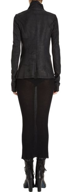 Rick Owens Leather Asymmetrical Jacket at Barneys.com