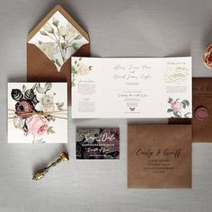 'English Garden' Luxury folding wedding invitation. A quintessentially British theme featuring beautiful illustrated roses, rustic twine and a custom wax seal. Perfect for a timeless woodland or secret garden themed wedding. The folding (gate-fold) invite opens to reveal three