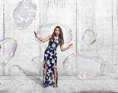 Sarah Hyland and bubbles in Candie's Spring 2018 campaign