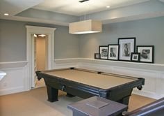 Lower Level Game Area - traditional - basement - grand rapids - Visbeen Associates, Inc. - chair rail as picture display and secret bookshelf door AMAZING