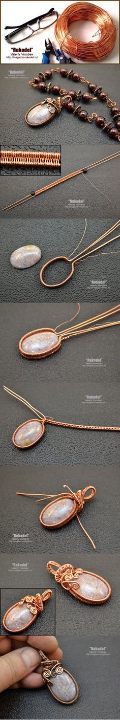 Wire weave pendant. Between the pictures and translations you will have a fair idea of how to proceed~ Wire Jewelry Tutorials