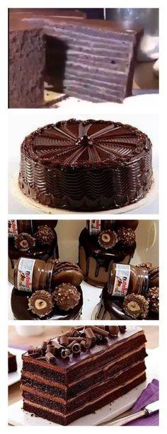 Este lindo bolo para os amantes do Chocolate salve este pin Prepare o bolo deste bolo com enchimento de chocolate, primeiro ative o forno para pré-aquecer a temperatura moderada a baixa #bolo#torta#doce#sobremesa#aniversario#pudim#mousse#pave#Cheesecake#chocolate#confeitaria