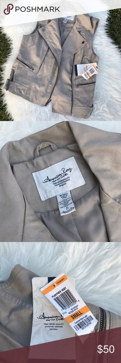 • Women's American Rag Pleather Taupe Vest • Beautiful taupe colored pleather vest by American Rag. NWT- retails for $60. No flaws! Buckled side accents. American Rag Jackets & Coats Vests