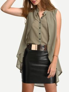 SheIn offers Collarless Layered High Low Blouse & more to fit your fashionable needs. Blouse Styles, Blouse Designs, Looks Plus Size, Green Fashion, Shirt Blouses, Chiffon Tops, Blouses For Women, Ideias Fashion, Fashion Outfits
