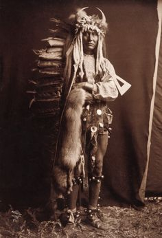 Iron Breast, full-length portrait of a Piegan man, standing, wearing war bonnet, holding tomahawk and animal pelt draped over his arm =