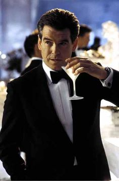 Pierce Bronson drinks martinis - shaken not stirred. - Hopefully we'll get someone playing Bond who actually looks the part like Pierce did!