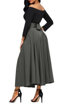 577f7f2385 Gray Retro High Waist Pleated Belted Maxi Skirt, Shop for cheap Gray Retro High  Waist
