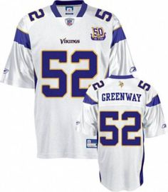 fc23c979b12 Vikings #52 Chad Greenway White Team 50TH Patch Stitched NFL Jersey