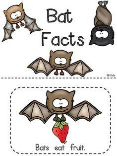 Batty Bat Facts - An Emergent Reader for Kindergarten and Writing page Bat Facts For Kids, Bats For Kids, Preschool Themes, Kindergarten Activities, Bat Craft, Emergent Readers, Halloween Activities, Night Creatures, Lesson Plans
