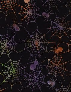 Spiders Batik By-The-Yard Cotton fabric by Timeless Treasures at TCSFabrics #Fabric #ByTheYard #TimelessTreasures #B3524 #SpidersBatik #Halloween #Batik