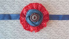 Red and Blue Ruffled Headband Baby Headband Newborn by CappyClips