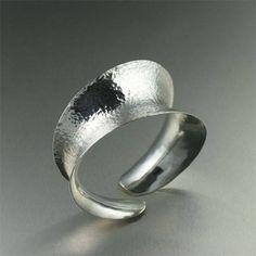 Hammered Sterling Silver Anticlastic Banlge Bracelet - johnsbrana - 1