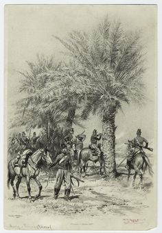 """Chasseurs d'Afrique 1842 by Edouard Detaille. Frim his book """"Types et… Edouard Detaille, Troops, Soldiers, French Colonial, French Empire, French Army, New York Public Library, Military Art, Warfare"""