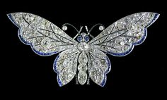 Diamond & Blue Sapphire Butterfly Brooch