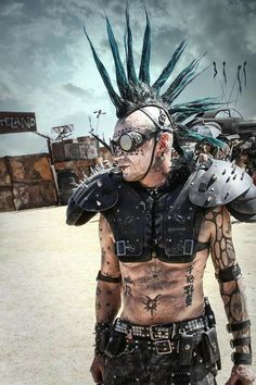 Men with steampunk and dieselpunk inspired outfit posing at Burning Man Apocalypse Fashion, Apocalypse World, Apocalypse Costume, Post Apocalyptic Costume, Post Apocalyptic Fashion, Mode Steampunk, Steampunk Fashion, Gothic Steampunk, Steampunk Clothing