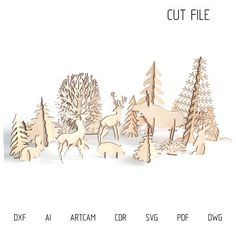DXF files for laser Big set Woodland Animals different design) Christmas decorations, svg, dxf File, Plywood or MDF Miniature animal Forest Animals, Woodland Animals, Laser Cut Plywood, Laser Cutter Projects, Tree Svg, Laser Cut Files, Vinyl Cutting, Handmade Christmas, Three Dimensional