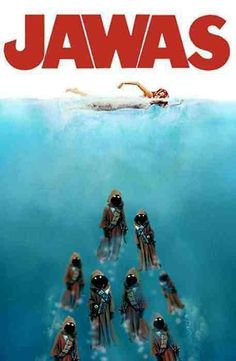 Here are 25 best spoofs of the iconic 'Jaws' movie poster. Here are 25 best spoofs of the iconic 'Jaws' movie poster. - Funny - Check out: Funny Spoofs Of The 'Jaws' Movie Poster on Barnorama Star Wars Fan Art, Star Wars Meme, Star Wars Witze, Star Wars Film, Jaws Movie Poster, Movie Posters, Cuadros Star Wars, Star Wars Personajes, Images Star Wars