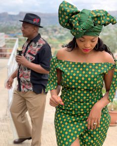 Beautiful 💚💛 Sotho Traditional Dresses, African Traditional Dresses, Traditional Wedding Dresses, Traditional Ideas, African Print Dresses, African Fashion Dresses, African Dress, African Wedding Attire, African Attire
