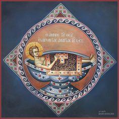 The Lamb of God lifting the sins of the world Byzantine Icons, Byzantine Art, Christ Pantocrator, Greek Icons, Christian Images, Art Icon, Orthodox Icons, Sacred Art, Religious Art