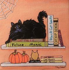 Cat-Halloween-Black-Cat-on-shelf-5-x-5-canvas-magnet-acrylic-by-Pryjmak
