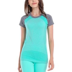 Casual Summer Short Sleeve Fitness T-Shirt Women Active Patchwork Workout Female Tops Clothing #Affiliate