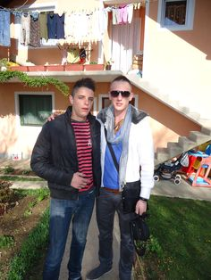 I visit my family in Bosnia. These are my cousins Selmir and Cako.