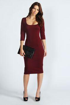 Ruby Seam Detail Midi Dress at boohoo.com