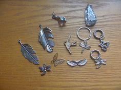 bird and insect charms, 11 bird, butterfly and dragonfly pendants Dragonfly Pendant, Uk Shop, Jewelry Making Supplies, Belly Button Rings, Insects, Craft Projects, Charms, Feather, Butterfly