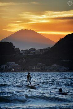Mount Fuji at Sunset from Kamakura Beach