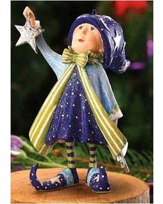 Patience Brewster Krinkle Dash Away Fairy Comet's Star Elf Christmas Ornament Christmas Time Is Here, Christmas Elf, Christmas Tree Ornaments, Whimsical Christmas, Clay Ornaments, Paperclay, Christmas Central, Fairy Art, Art Dolls